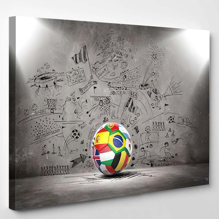 3D Football Soccer Ball Nations Teams - Football Canvas Wall Decor