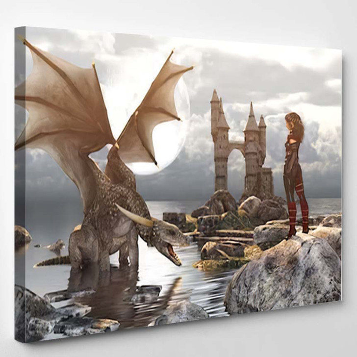 3D Fantasy Dragon Resting On Water - Dragon Animals Canvas Wall Decor