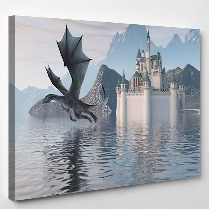 3D Illustration Castle On Water Dragon - Dragon Animals Canvas Wall Decor