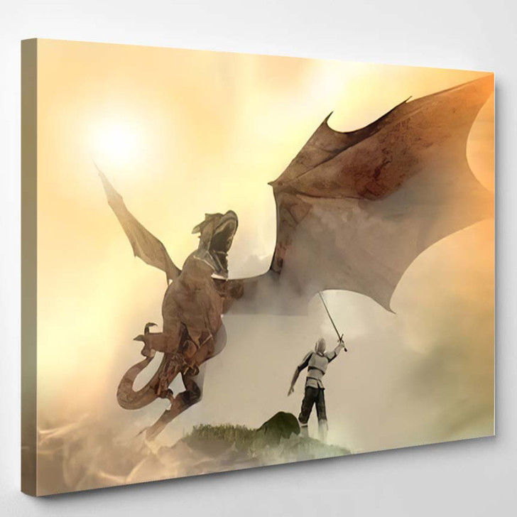 3D Illustration Knight Fighting Dragon Versus 1 - Dragon Animals Canvas Wall Decor