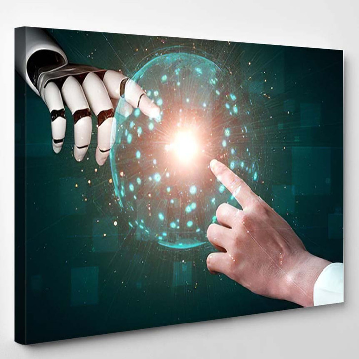 3D Rendering Artificial Intelligence Ai Research 27 - Creation of Adam Canvas Wall Decor