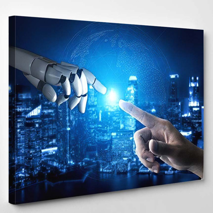 3D Rendering Artificial Intelligence Ai Research 39 - Creation of Adam Canvas Wall Decor