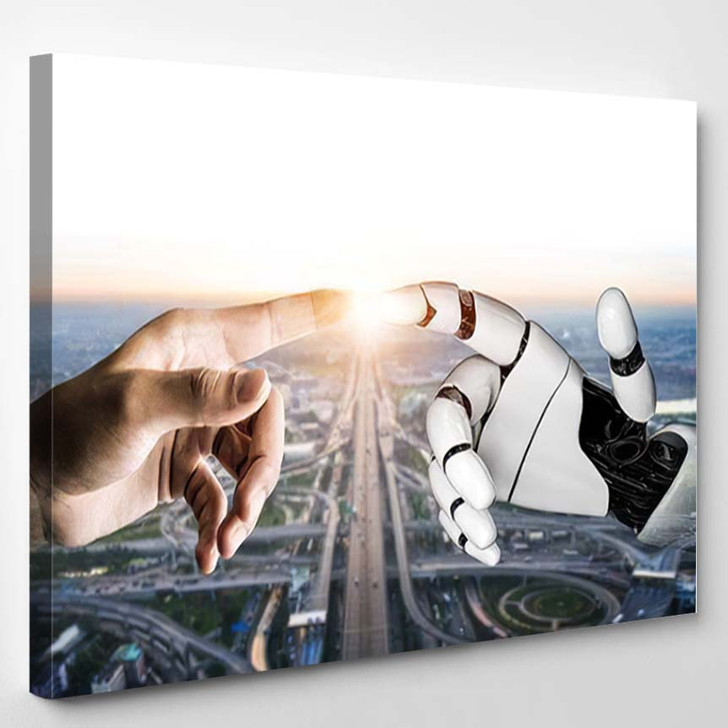 3D Rendering Futuristic Robot Technology Development 7 - Creation of Adam Canvas Wall Decor