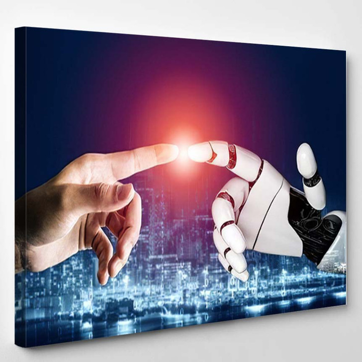 3D Rendering Futuristic Robot Technology Development 16 - Creation of Adam Canvas Wall Decor