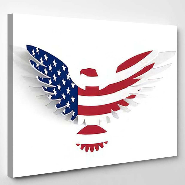 Abstract Card Silhouette Eagle Painted American - Eagle Animals Canvas Wall Decor