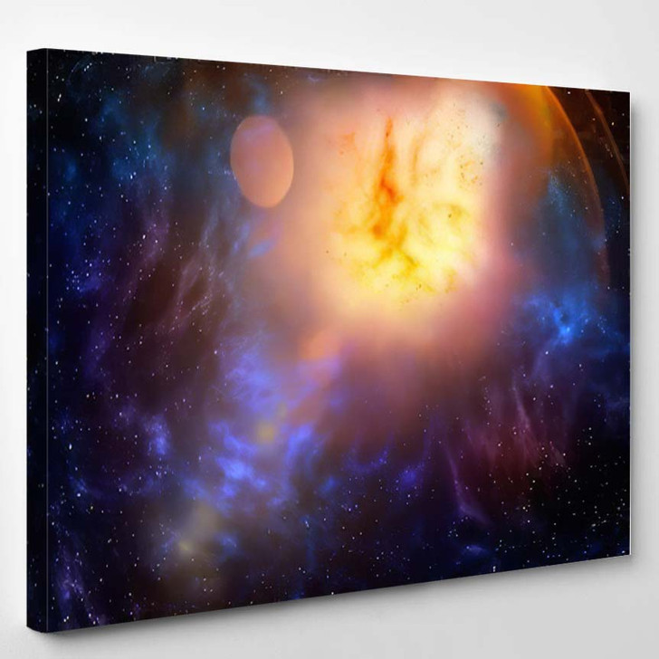 3D Illustration Planets Galaxy Science Fiction 6 - Galaxy Sky and Space Canvas Wall Decor