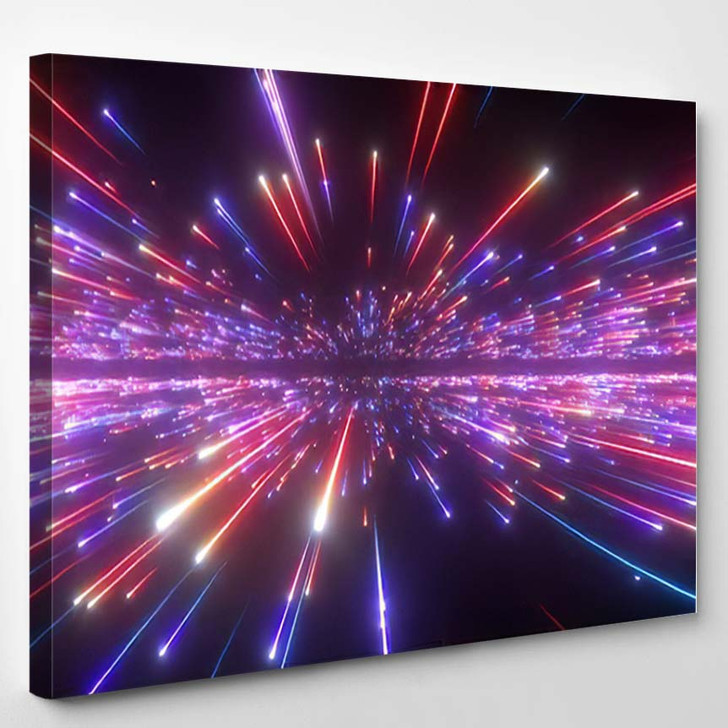 3D Render Red Blue Fireworks Abstract - Galaxy Sky and Space Canvas Wall Decor