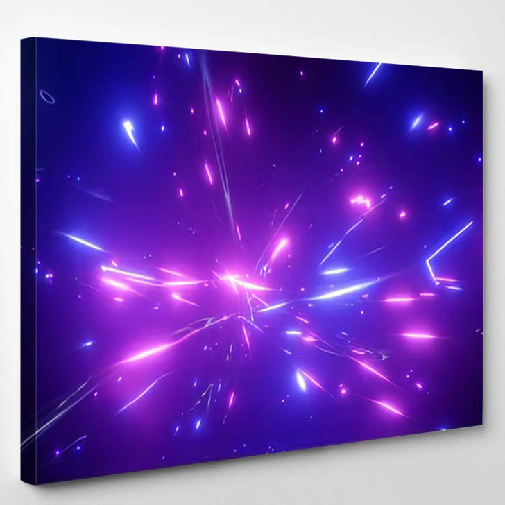 3D Rendering Fantastic Background Bright Glowing - Galaxy Sky and Space Canvas Wall Decor