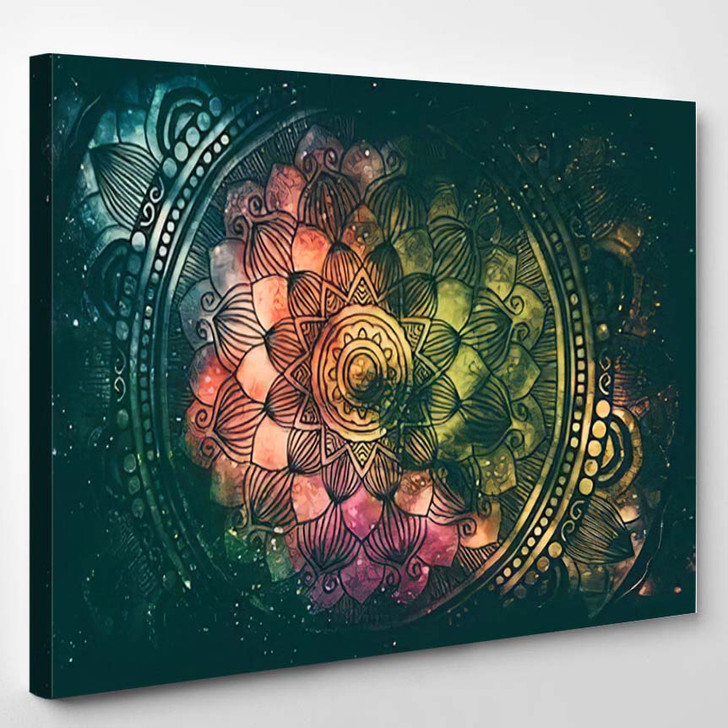 Abstract Ancient Geometric Star Field Colorful 5 - Galaxy Sky and Space Canvas Wall Decor