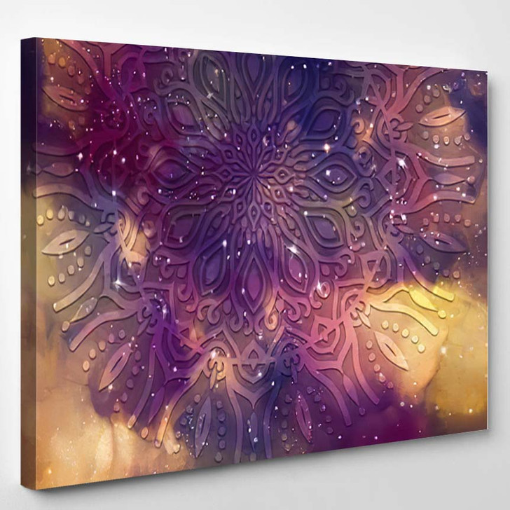 Abstract Ancient Geometric Star Field Colorful 6 - Galaxy Sky and Space Canvas Wall Decor