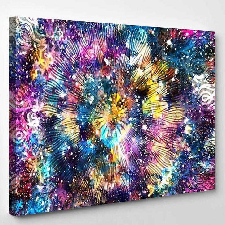 Abstract Ancient Geometric Star Field Colorful 7 - Galaxy Sky and Space Canvas Wall Decor