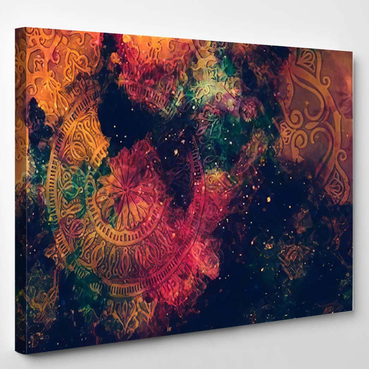 Abstract Ancient Geometric Star Field Colorful 8 - Galaxy Sky and Space Canvas Wall Decor