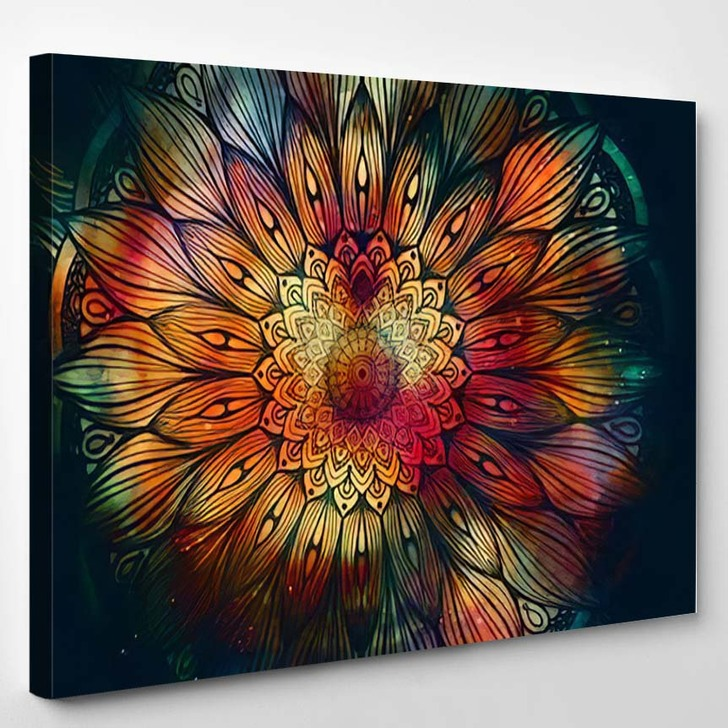 Abstract Ancient Geometric Star Field Colorful 9 - Galaxy Sky and Space Canvas Wall Decor