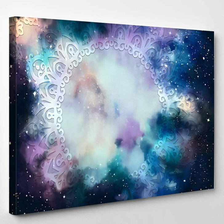 Abstract Ancient Geometric Star Field Colorful 12 - Galaxy Sky and Space Canvas Wall Decor