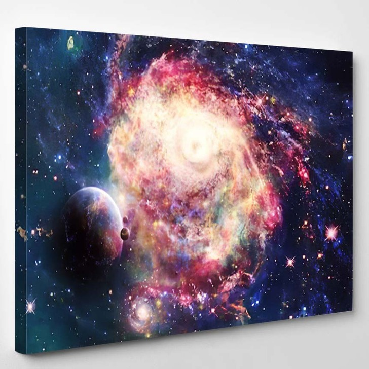 Abstract Artistic Beautiful Colorful Galaxy Space - Galaxy Sky and Space Canvas Wall Decor