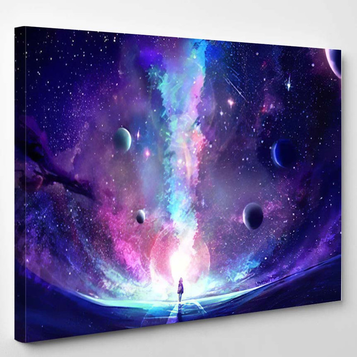 Abstract Artistic Multicolored Dimensional Galactic Nebul A1 - Galaxy Sky and Space Canvas Wall Decor