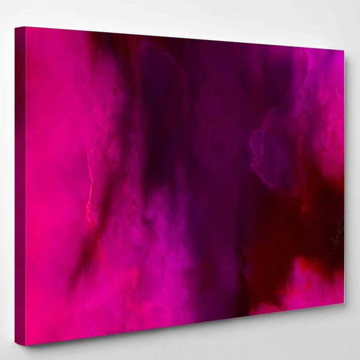 Abstract Cosmic Pink Watercolor Background Magenta - Galaxy Sky and Space Canvas Wall Decor