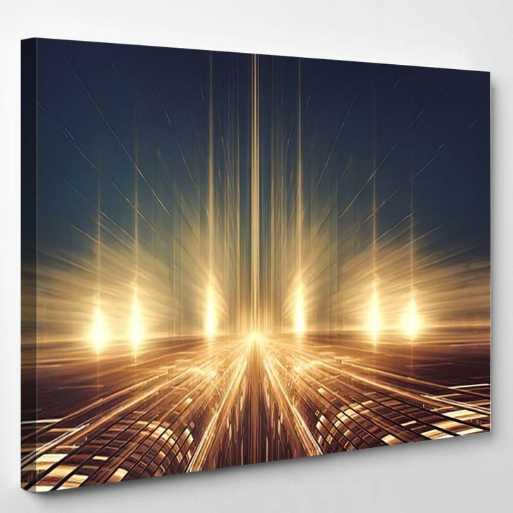 Abstract Fractal Futuristic Alien Landscape Intergalactic - Galaxy Sky and Space Canvas Wall Decor