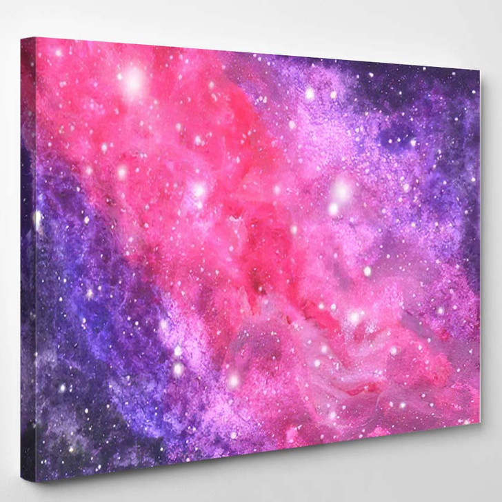 Abstract Galaxy Painting Watercolor Cosmic Texture - Galaxy Sky and Space Canvas Wall Decor