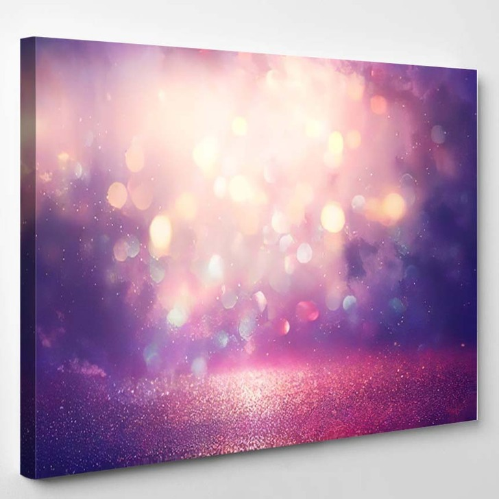 Abstract Glitter Silver Purple Blue Gold 1 - Galaxy Sky and Space Canvas Wall Decor