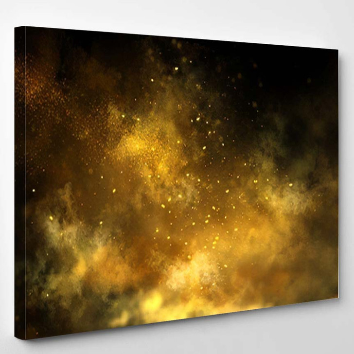 Abstract Magic Gold Dust Background Over - Galaxy Sky and Space Canvas Wall Decor