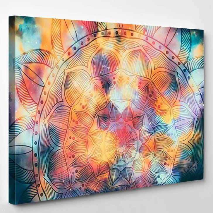 Abstract Mandala Graphic Design Watercolor Digital 1 1 - Galaxy Sky and Space Canvas Wall Decor