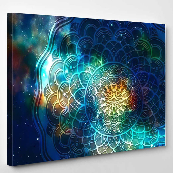 Abstract Mandala Graphic Design Watercolor Digital 4 1 - Galaxy Sky and Space Canvas Wall Decor