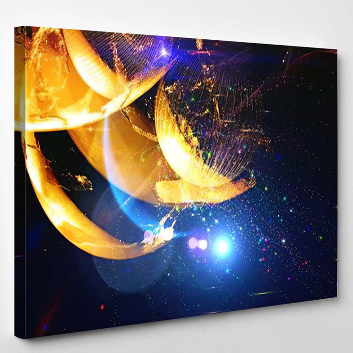Abstract Multicolored Space Background Science Fiction 3 - Galaxy Sky and Space Canvas Wall Decor