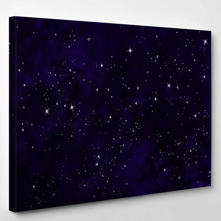 Abstract Purple Digital Watercolor Galaxy Painting - Galaxy Sky and Space Canvas Wall Decor
