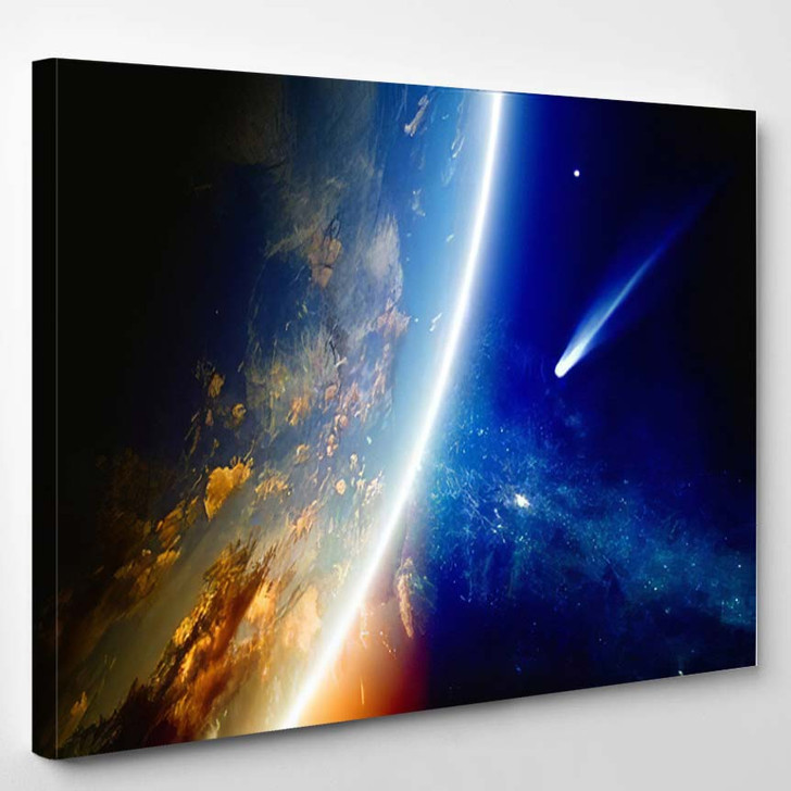Abstract Scientific Background Comet Approaches Glowing 1 - Galaxy Sky and Space Canvas Wall Decor