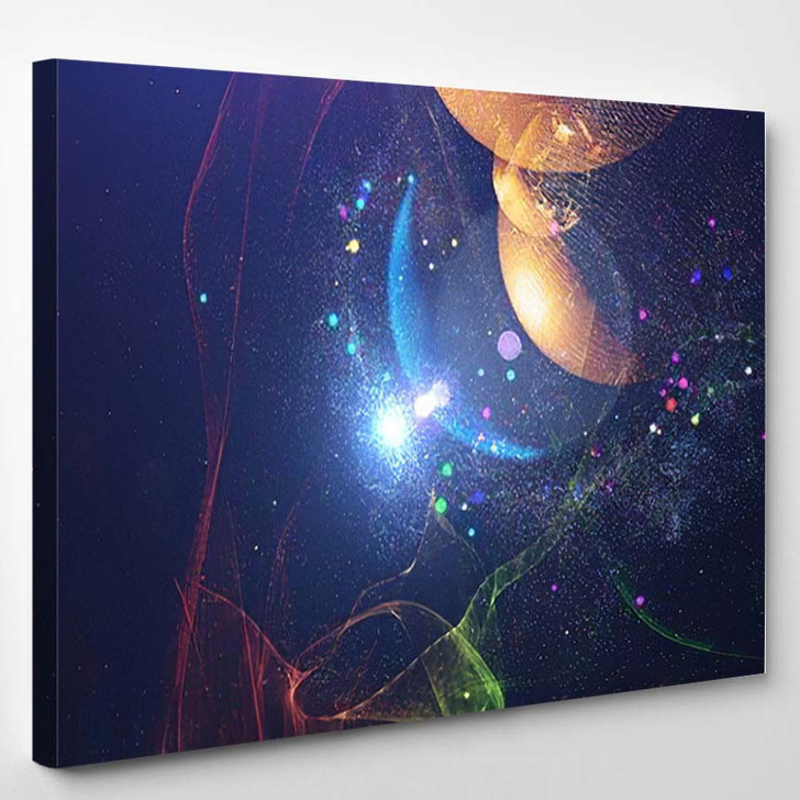 Abstract Space Background Science Fiction Wallpaper 1 - Galaxy Sky and Space Canvas Wall Decor