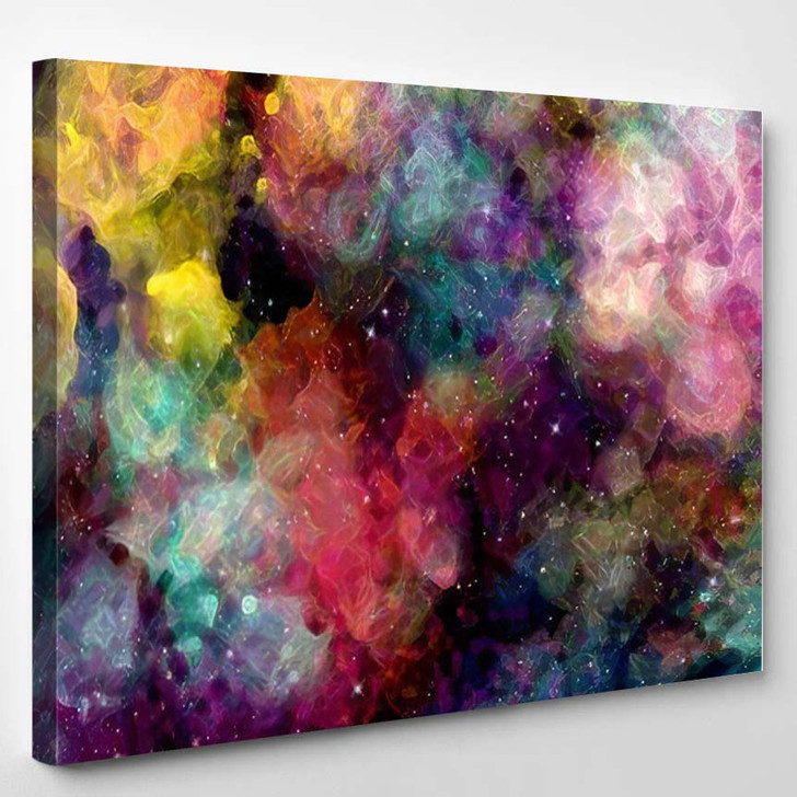 Abstract Star Field Galaxy Space Watercolor - Galaxy Sky and Space Canvas Wall Decor