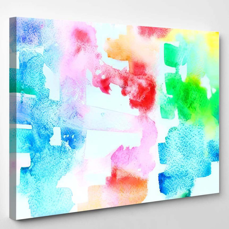 Abstract Watercolor Background Shopping Bright City - Galaxy Sky and Space Canvas Wall Decor