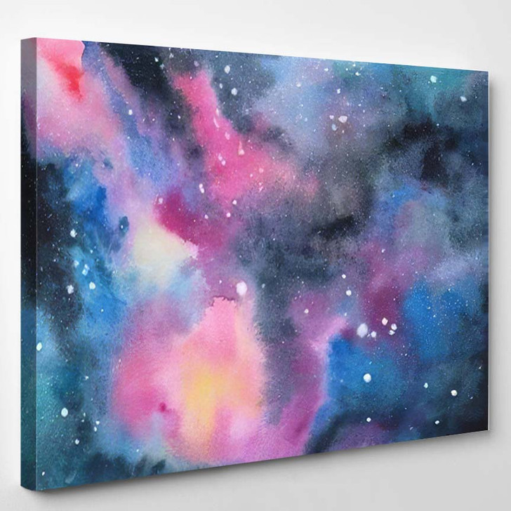 Abstract Watercolor Fantasy Background Deep Space - Galaxy Sky and Space Canvas Wall Decor