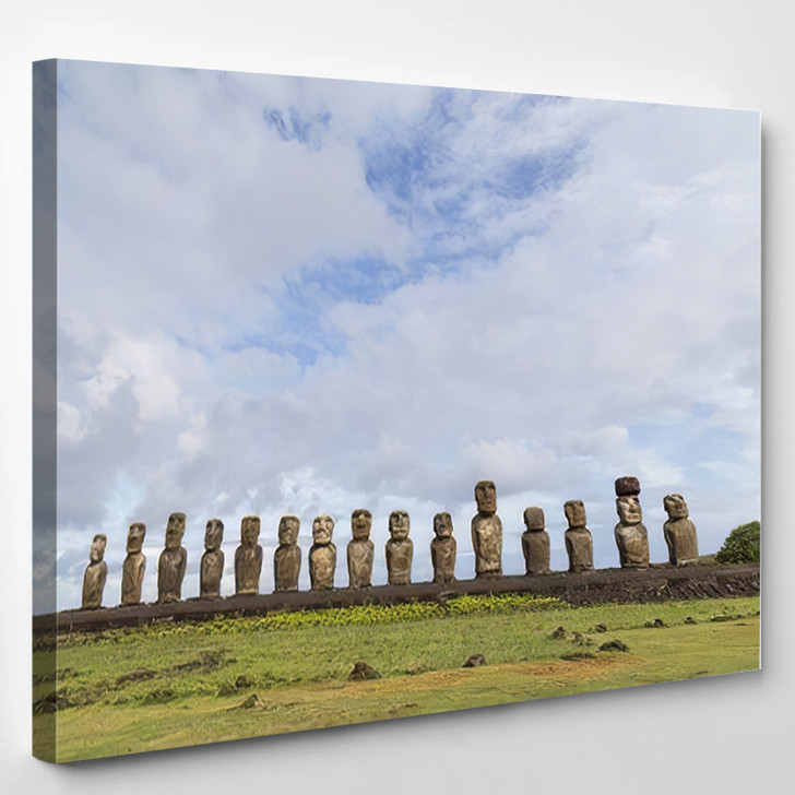 15 Moais Ahu Tongariki On Easter - Landmarks and Monuments Canvas Wall Decor