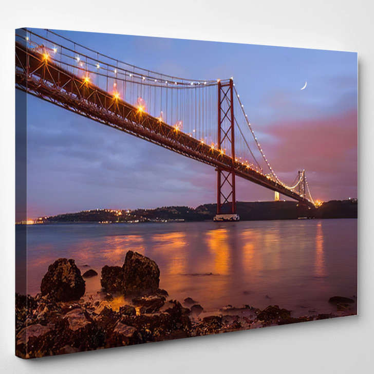 25 De Abril Bridge Over Tagus 1 - Landmarks and Monuments Canvas Wall Decor