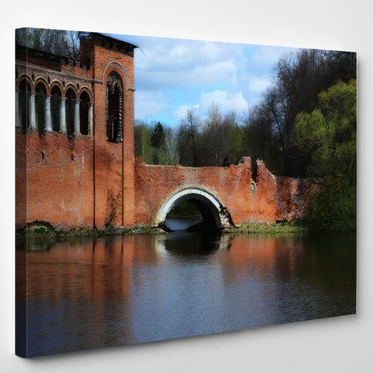 Abandoned Historical Bridge Marfino Moscow Region - Landmarks and Monuments Canvas Wall Decor