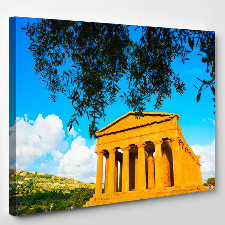 Abstract Conceptual Ancient Greece Agrigento Greek 1 - Landmarks and Monuments Canvas Wall Decor