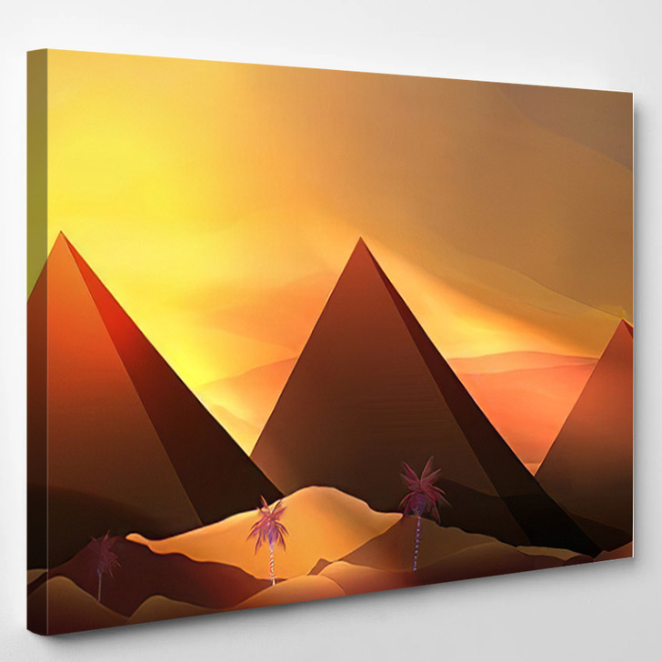Abstract Pyramids Sand Dunes Vector Illustration - Landmarks and Monuments Canvas Wall Decor