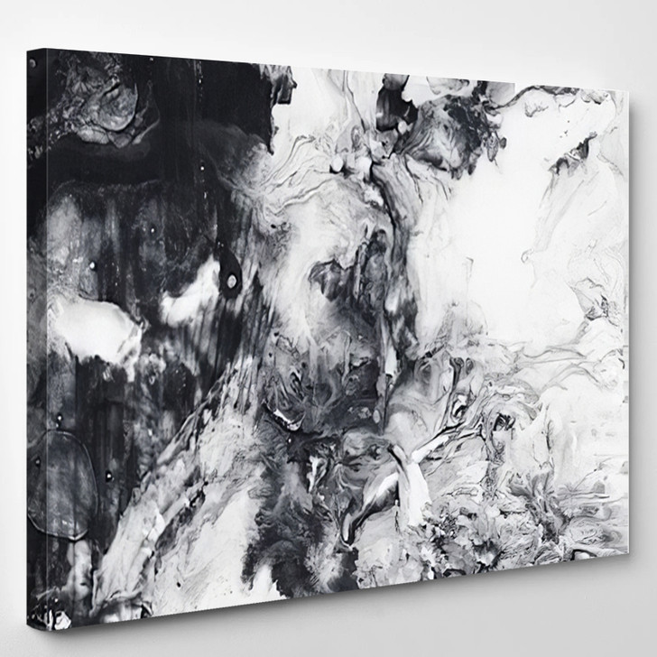 Abstract Hand Painted Black And White Background Acrylic Painting On Canvas Wallpaper Texture - Abstrast Canvas Wall Decor