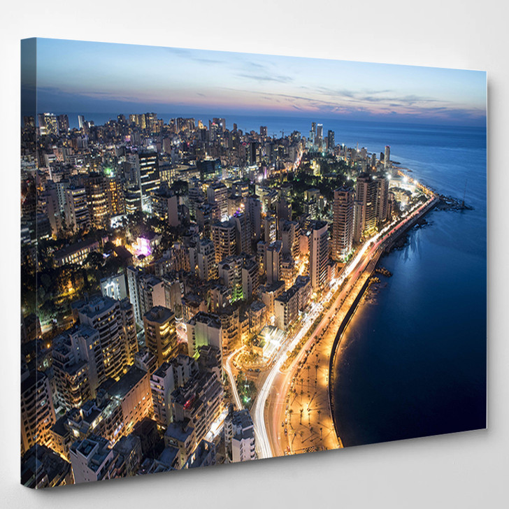 Aerial Night Shot Of Beirut Lebanon City Of Beirut Beirut City Scape - Landscape Canvas Wall Decor