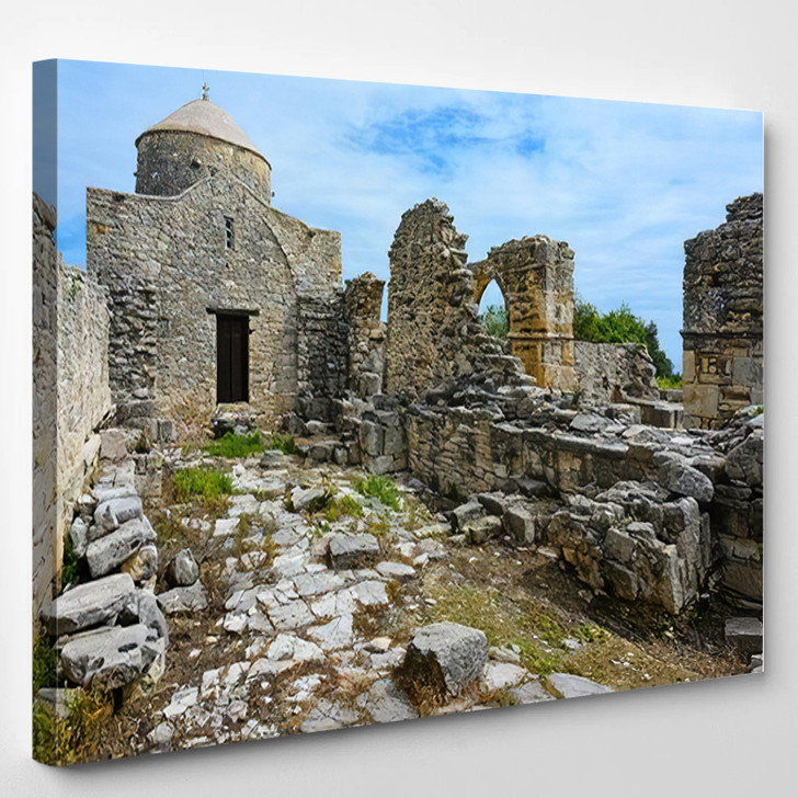 Abandoned Monastery Timios Sravros Holy Cross - Landmarks and Monuments Canvas Wall Decor