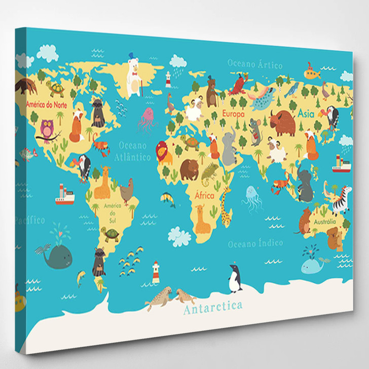 Animals World Map For Kids Room - World Map Canvas Wall Decor