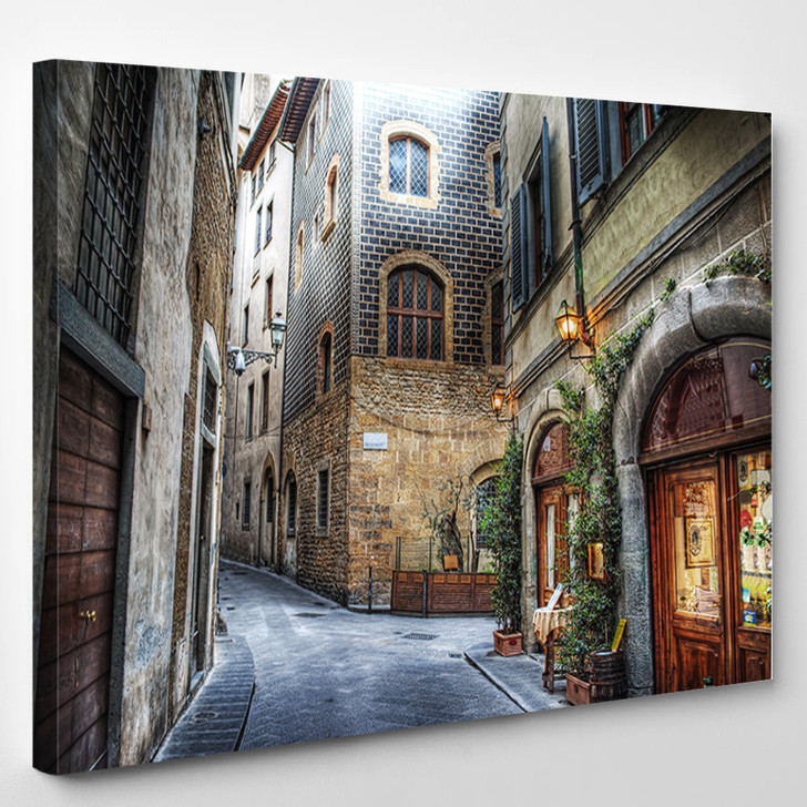 Beautiful Narrow Street In Florence Italy - Landscape Canvas Wall Decor