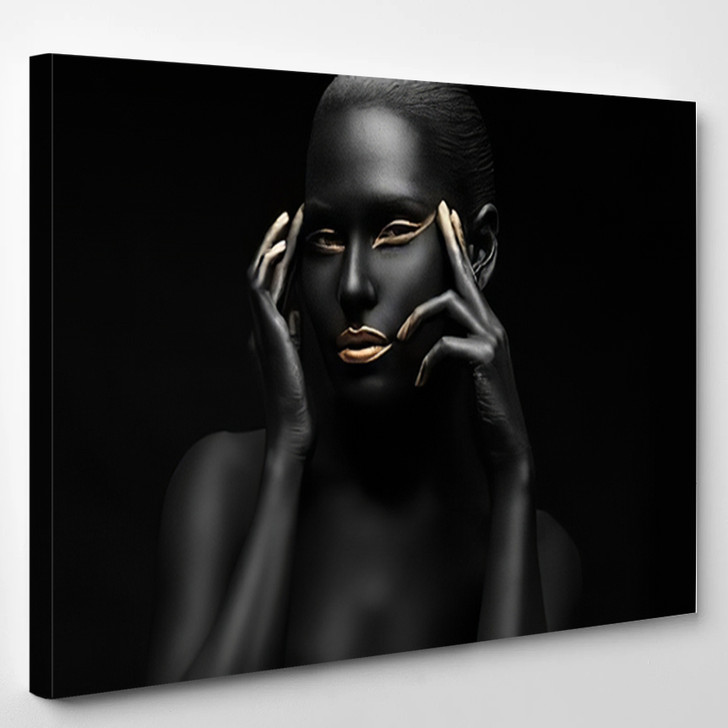 Black Girl With Golden Lips And The Gold On The Tips Of The Fingers - Abstrast Canvas Wall Decor