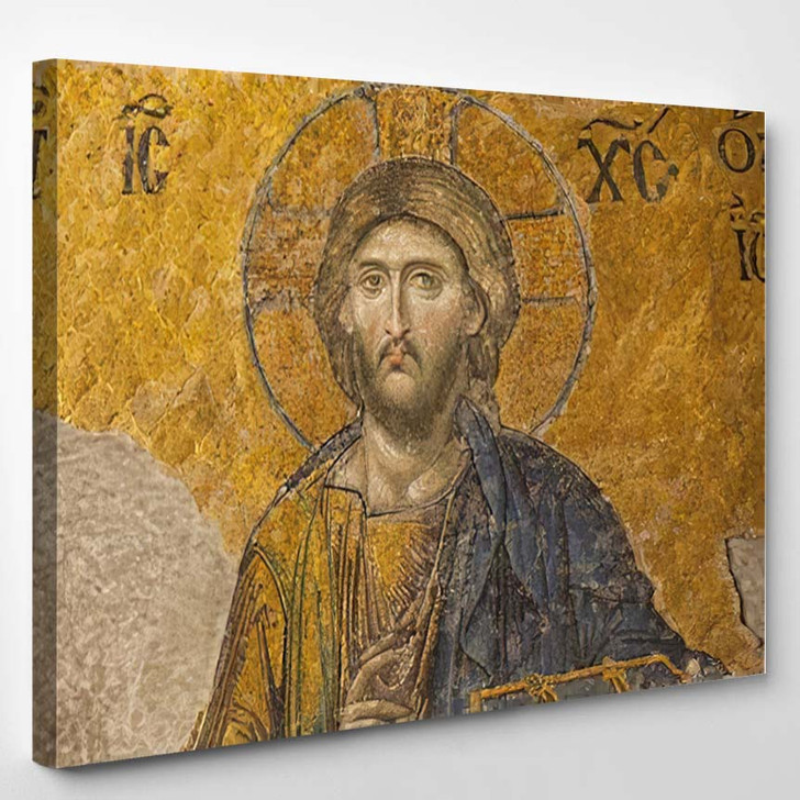 13Th Century Mosaic Jesus Christ Hagia - Jesus Christian Canvas Wall Decor