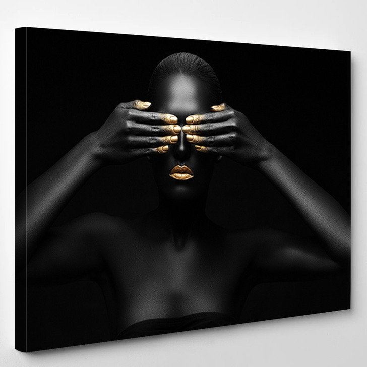 Black Woman Closes Her Eyes - Abstrast Canvas Wall Decor