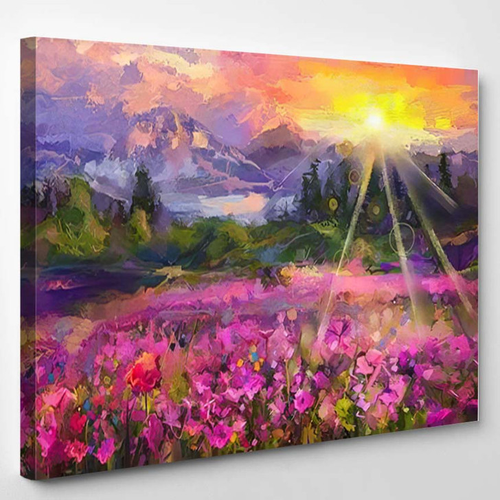 Abstract Colorful Oil Painting Purple Cosmos - Paintings Canvas Wall Decor