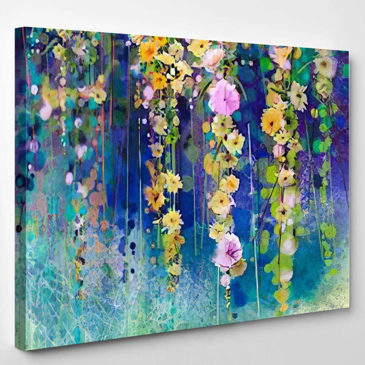 Abstract Floral Watercolor Painting Hand Painted - Paintings Canvas Wall Decor