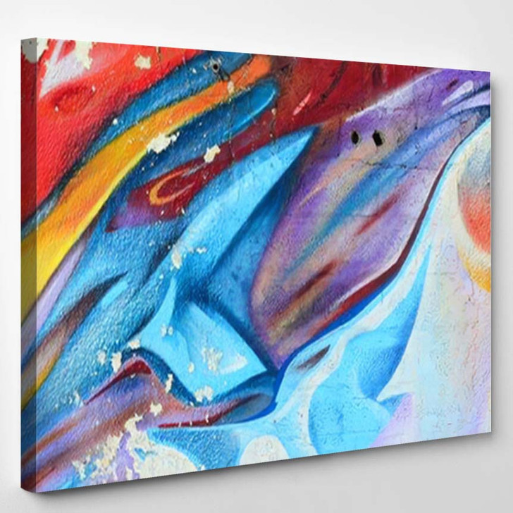 Abstract Graffiti Paintings On Concrete Wall - Paintings Canvas Wall Decor